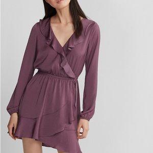 Express Long Sleeve Ruffle Fit & Flare Mini Dress
